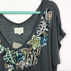 Anthropologie Deletta Sequin Front Top